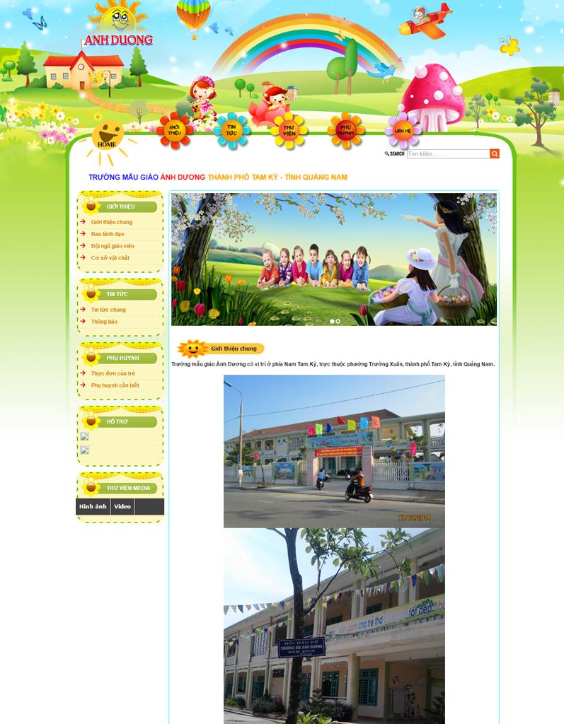 Web tin tức, web trường học, Trường mẫu giáo Ánh Dương