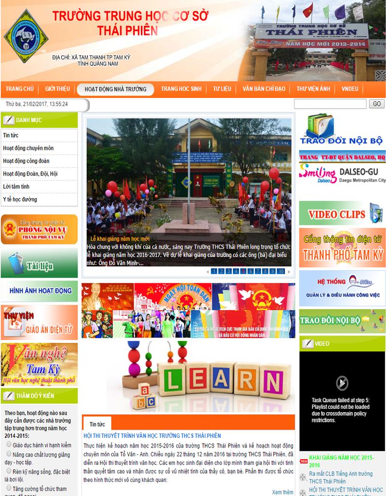 Web tin tức, web trường học, Trường THCS Thái Phiên