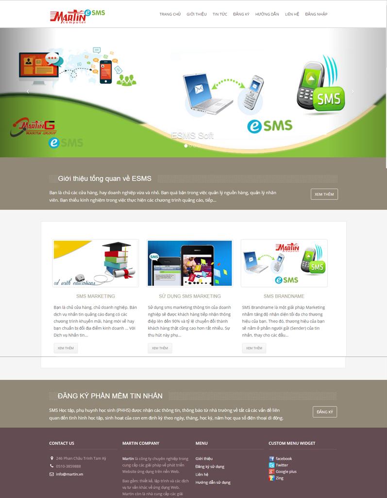 Web app - đăng ký sử dụng gởi sms tự động - esms martin