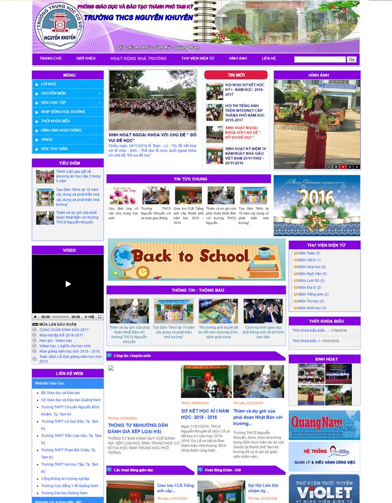 Web tin tức, web trường học, Trường THCS Nguyễn Khuyến