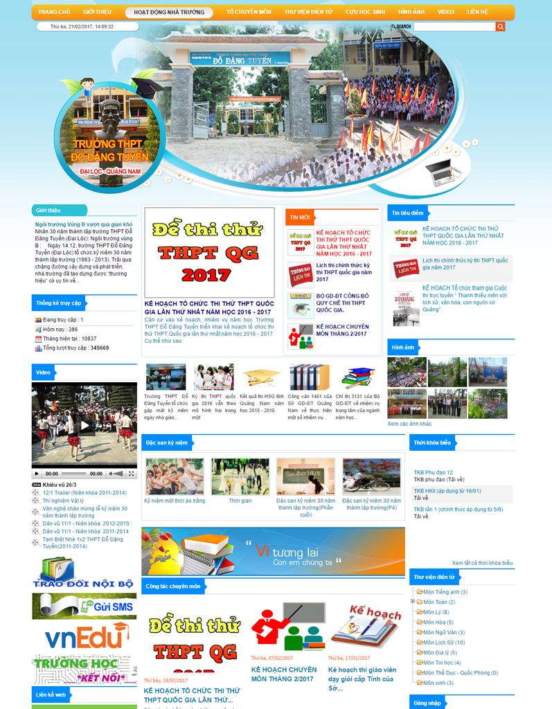 Web tin tức, web trường học, Trường THPT Đỗ Đăng Tuyển