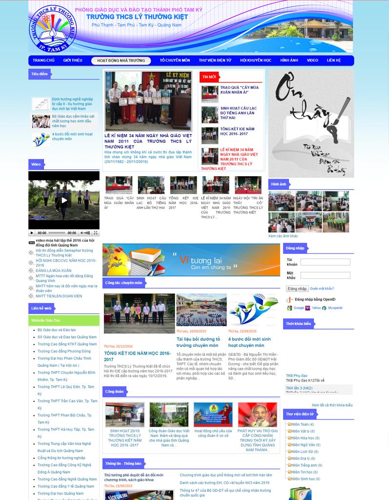 Web tin tức, web trường học, Trường THCS Lý Thường Kiệt